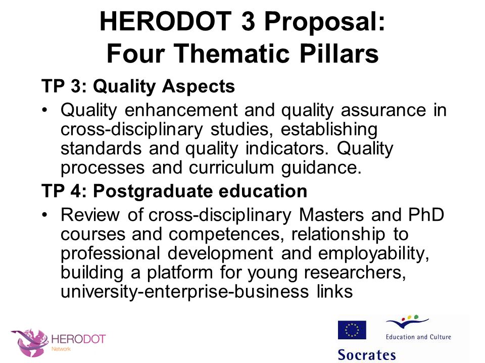 HERODOT 3 Proposal: Four Thematic Pillars