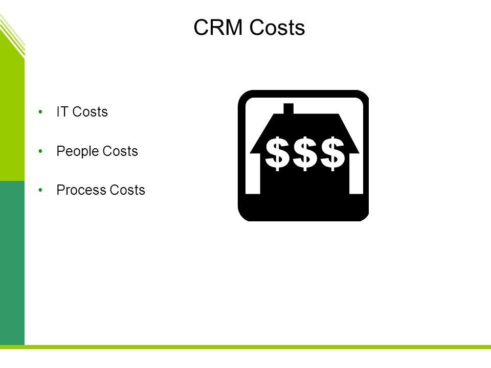 CRM Costs IT Costs People Costs Process Costs