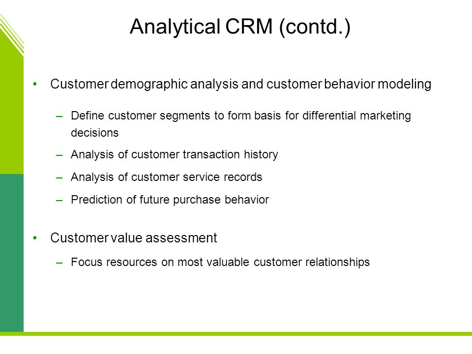 Analytical CRM (contd.)