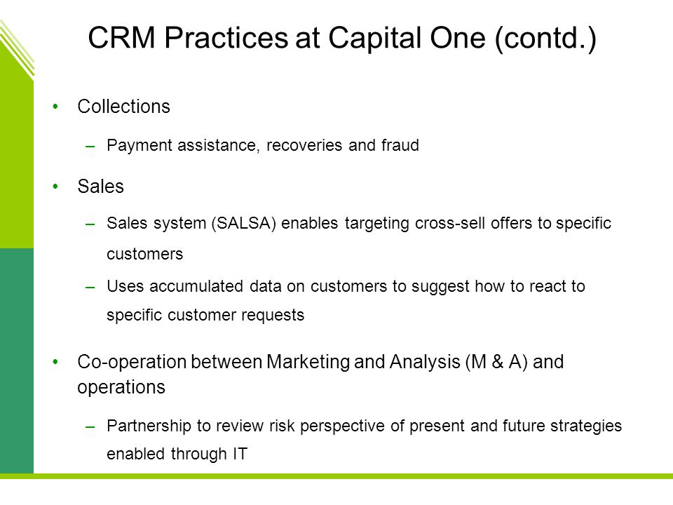 CRM Practices at Capital One (contd.)
