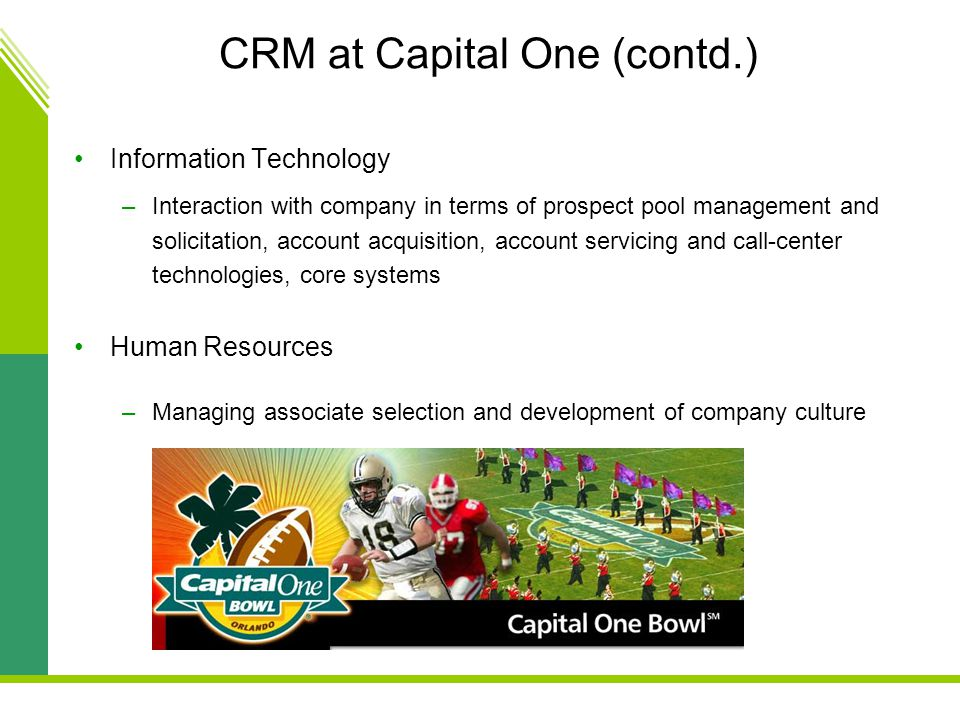 CRM at Capital One (contd.)