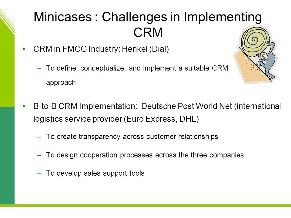 Minicases : Challenges in Implementing CRM