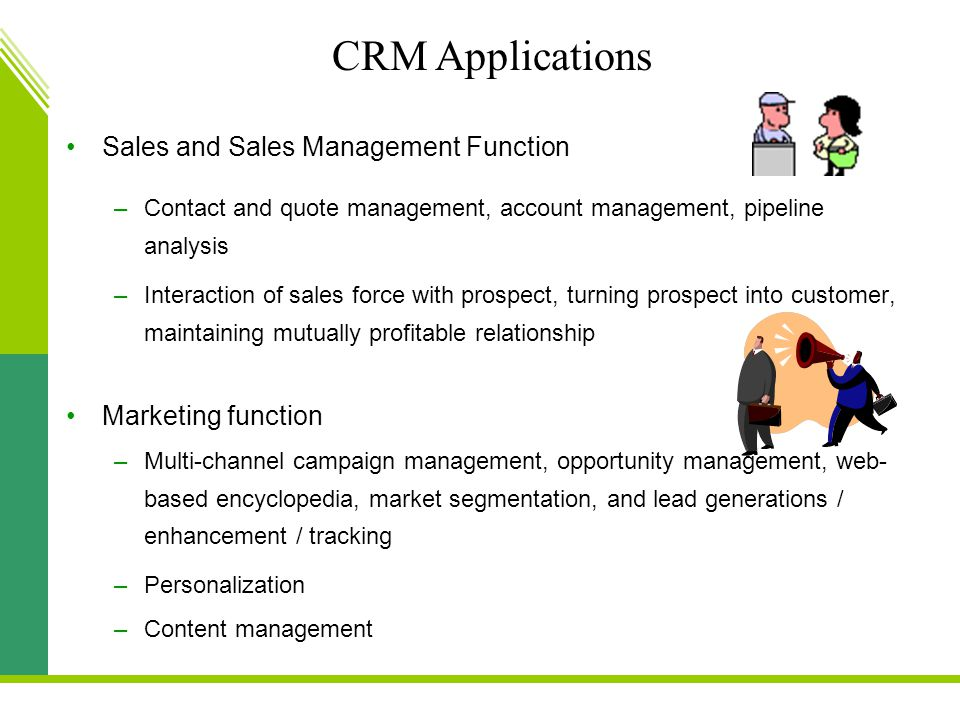 CRM Applications Sales and Sales Management Function