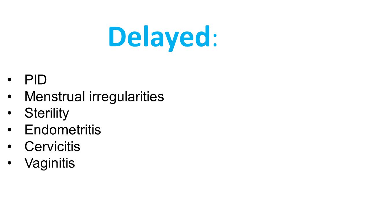 Delayed: PID Menstrual irregularities Sterility Endometritis