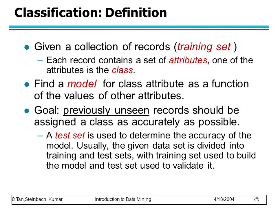 Classification: Definition