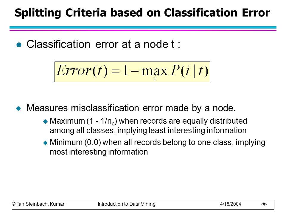 Splitting Criteria based on Classification Error