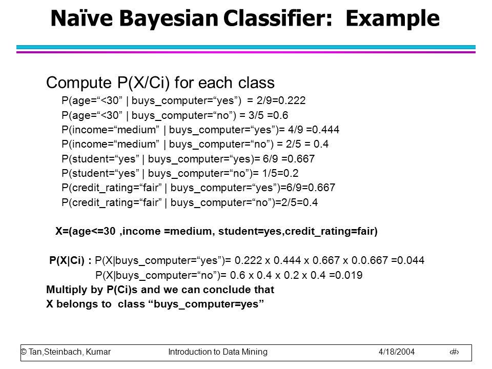 Naïve Bayesian Classifier: Example