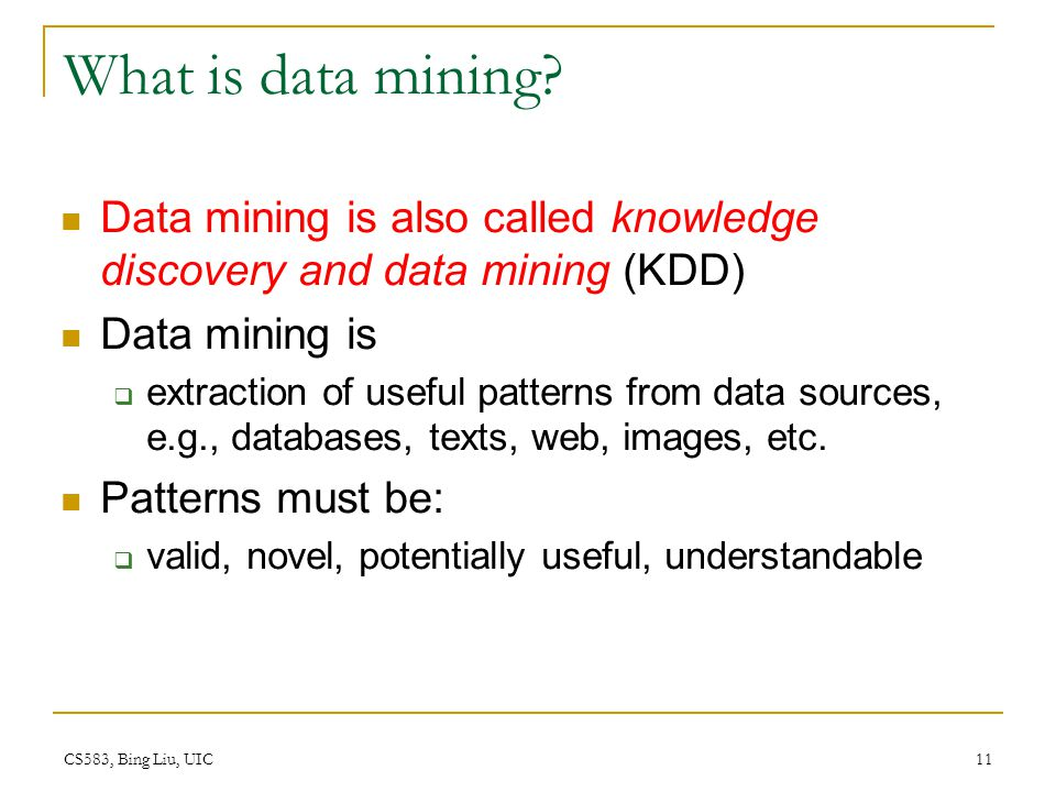What is data mining Data mining is also called knowledge discovery and data mining (KDD) Data mining is.