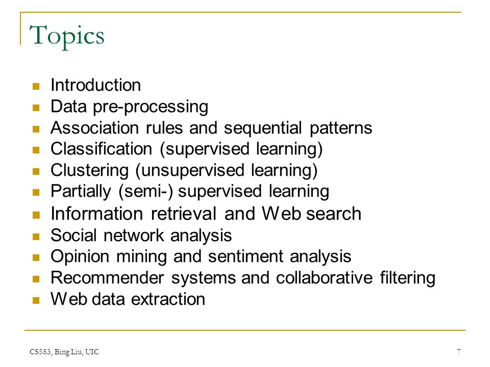 Topics Information retrieval and Web search Introduction