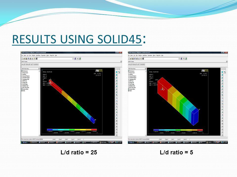 RESULTS USING SOLID45: L/d ratio = 25 L/d ratio = 5
