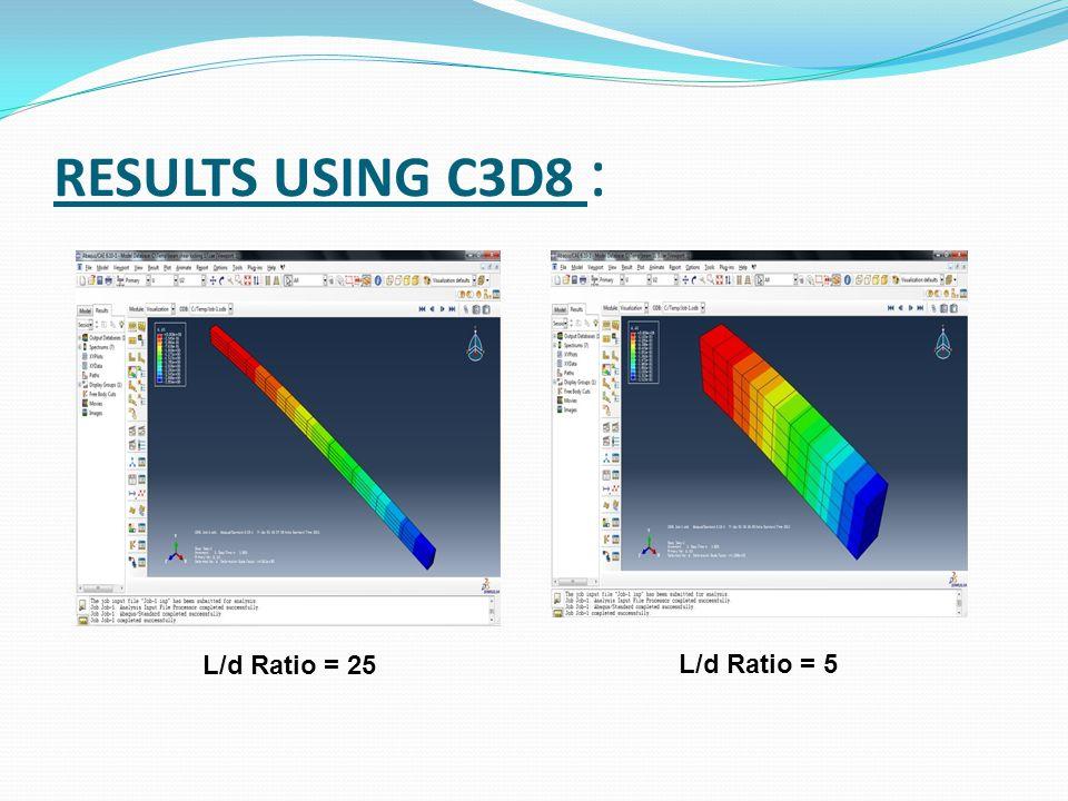 RESULTS USING C3D8 : L/d Ratio = 25 L/d Ratio = 5