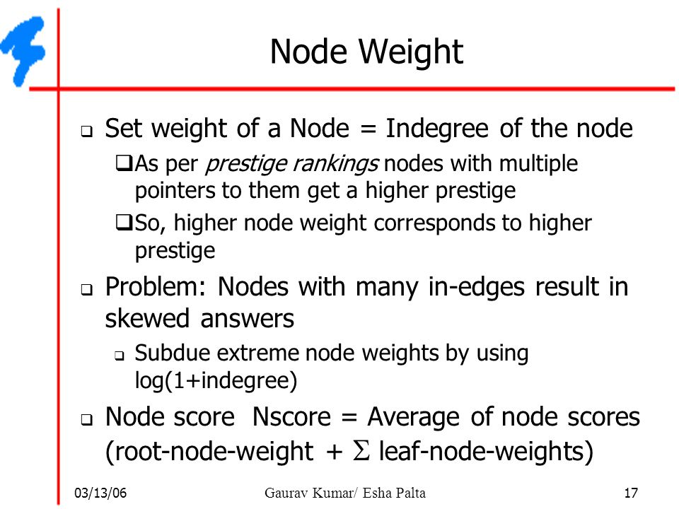 Node Weight Set weight of a Node = Indegree of the node