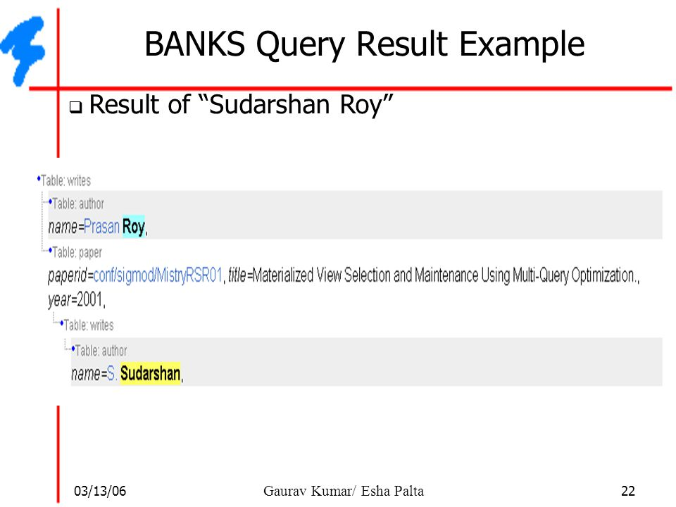 BANKS Query Result Example