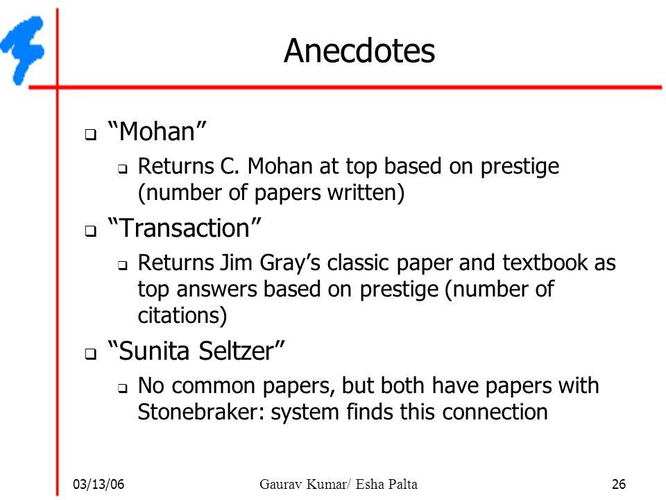 Anecdotes Mohan Transaction Sunita Seltzer