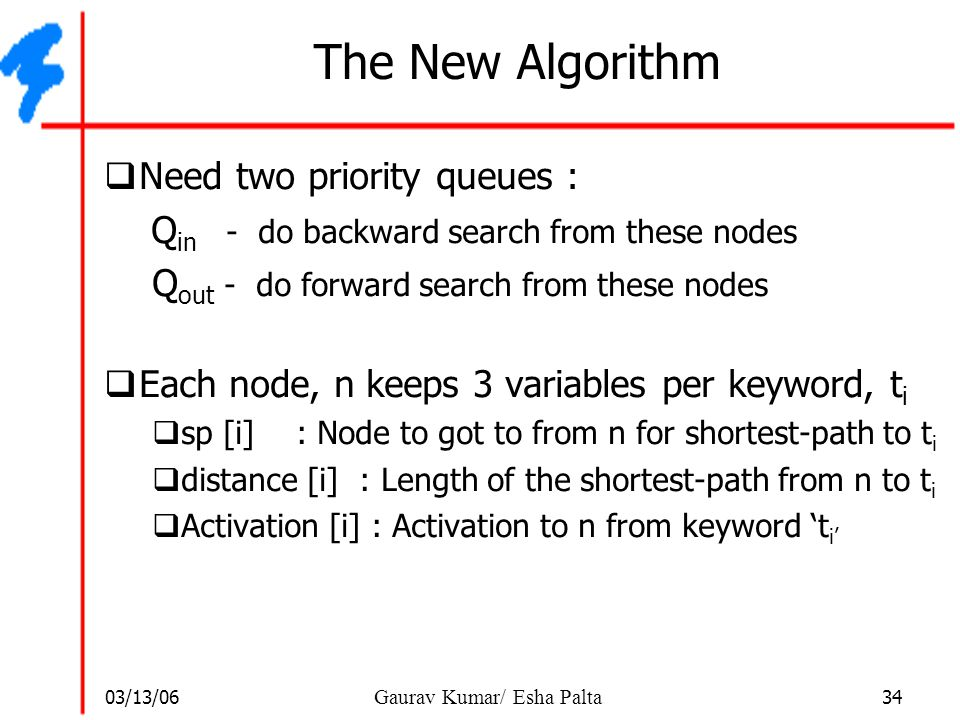 The New Algorithm Need two priority queues :