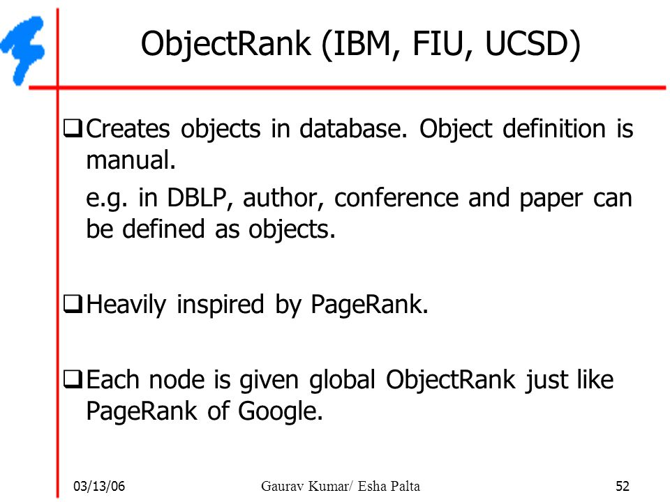 ObjectRank (IBM, FIU, UCSD)
