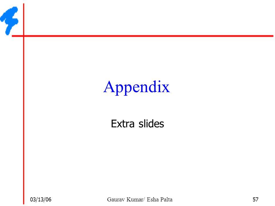 Appendix Extra slides