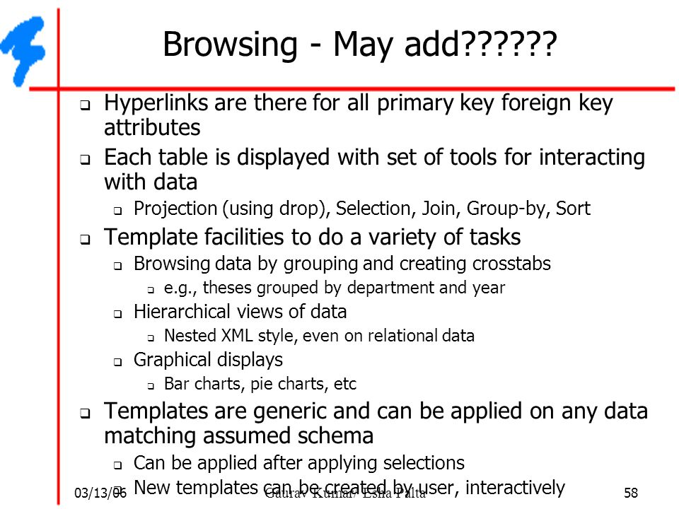 Browsing - May add Hyperlinks are there for all primary key foreign key attributes.
