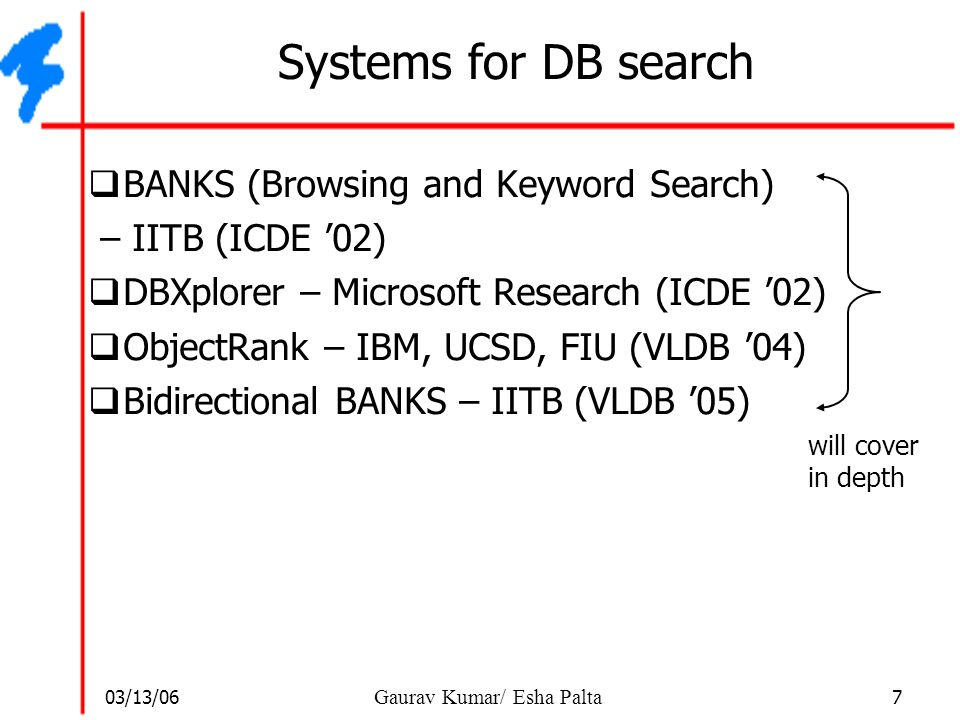 Systems for DB search BANKS (Browsing and Keyword Search)