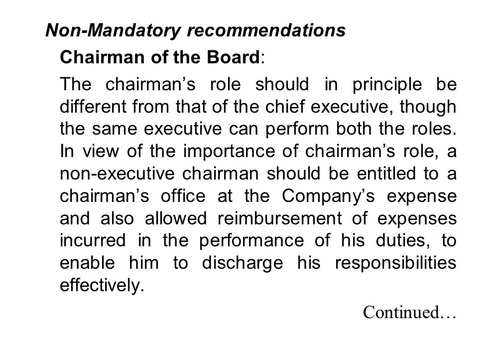 Non-Mandatory recommendations