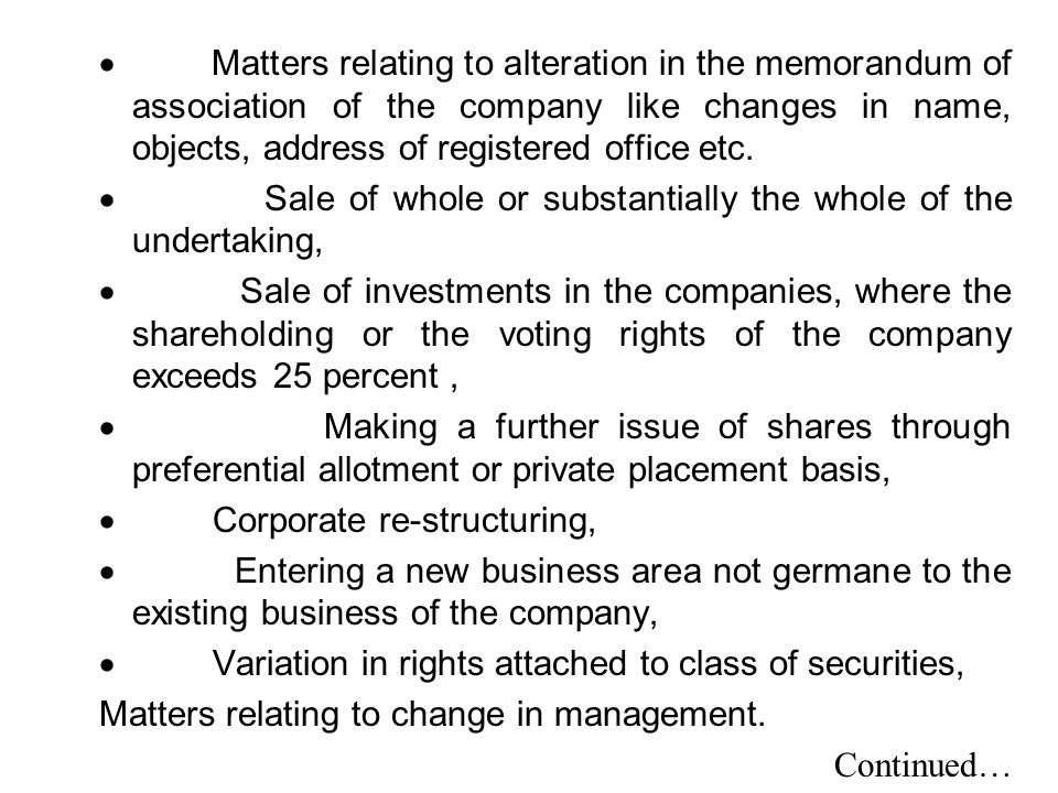 · Matters relating to alteration in the memorandum of association of the company like changes in name, objects, address of registered office etc.