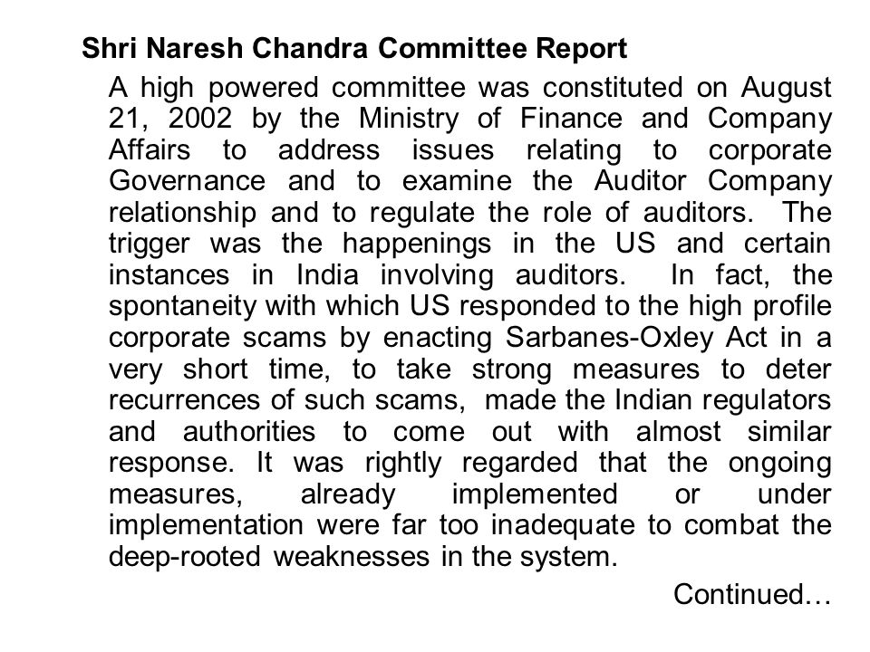Shri Naresh Chandra Committee Report