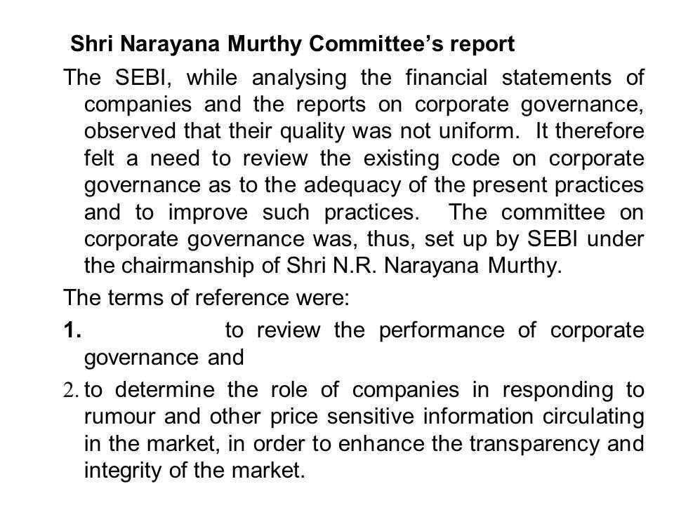 Shri Narayana Murthy Committee's report