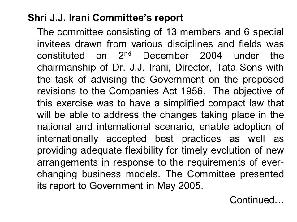 Shri J.J. Irani Committee's report