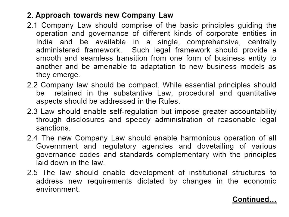 2. Approach towards new Company Law