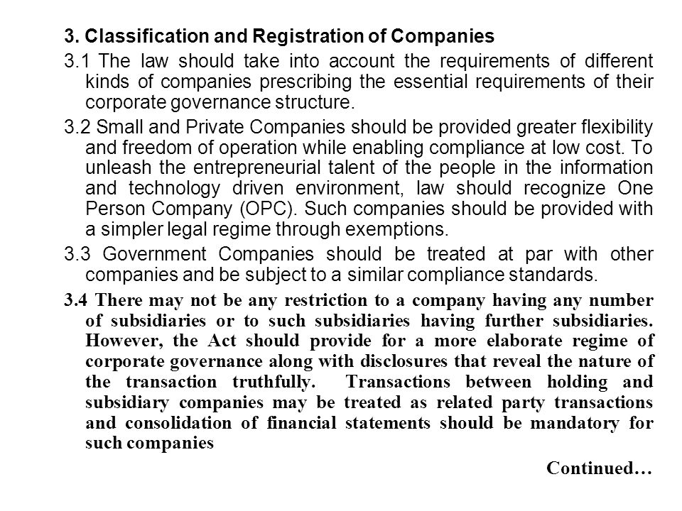 3. Classification and Registration of Companies