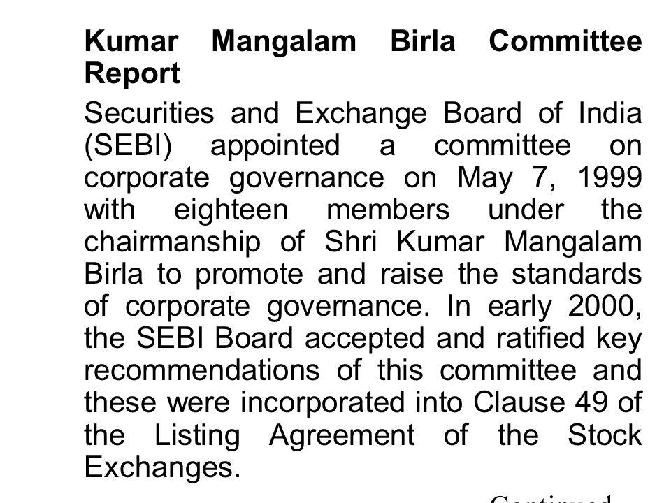 Kumar Mangalam Birla Committee Report