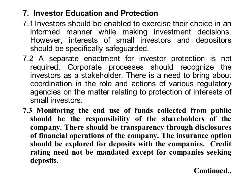 7. Investor Education and Protection