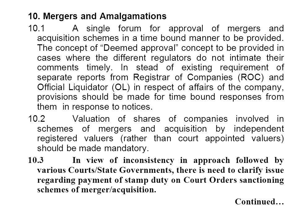 10. Mergers and Amalgamations