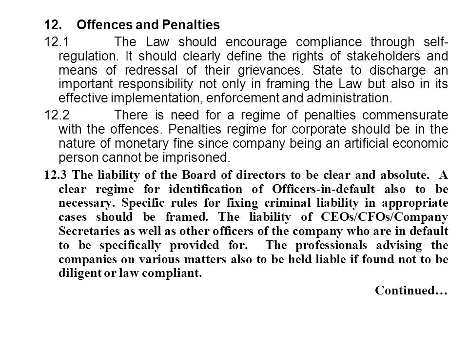 12. Offences and Penalties