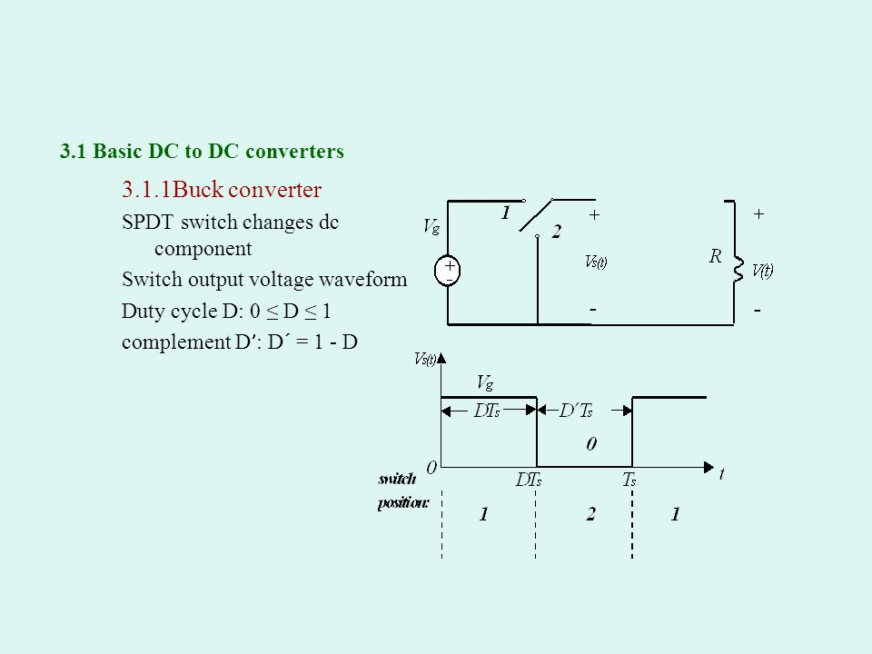 3.1 Basic DC to DC converters