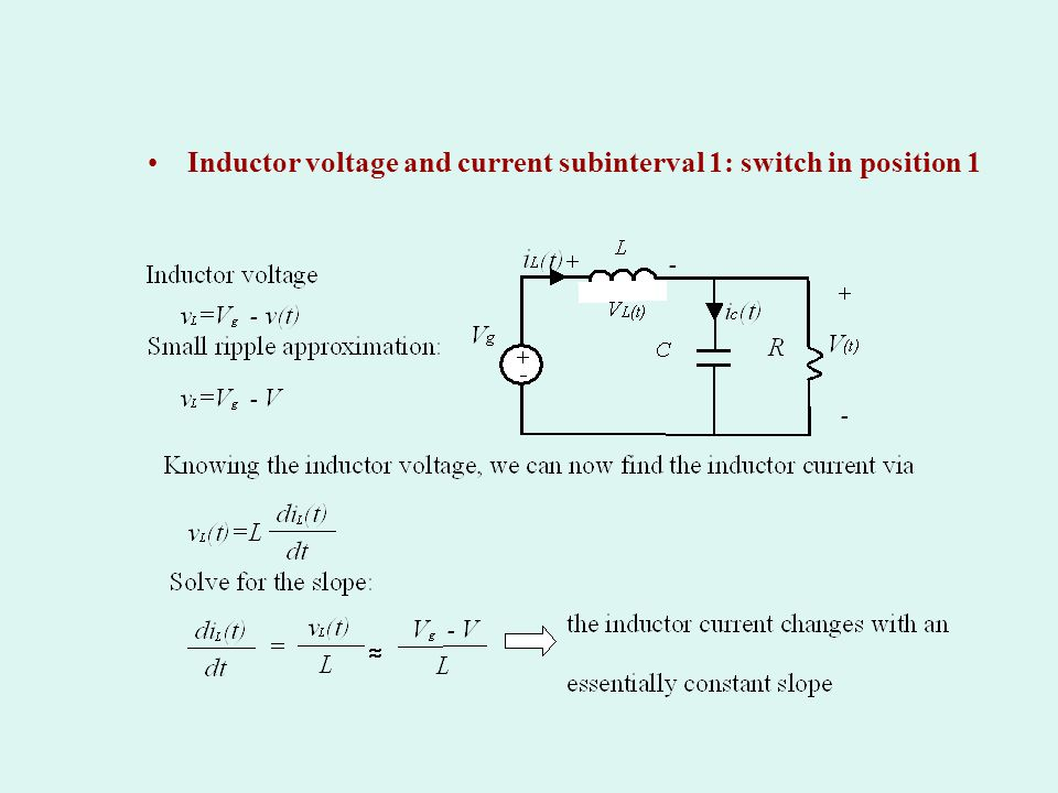 Inductor voltage and current subinterval 1: switch in position 1