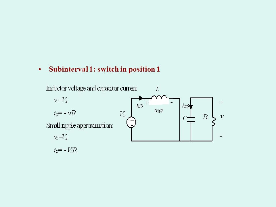 Subinterval 1: switch in position 1