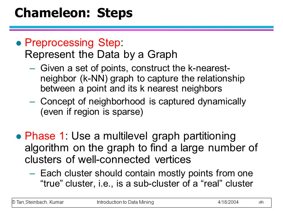Chameleon: Steps Preprocessing Step: Represent the Data by a Graph