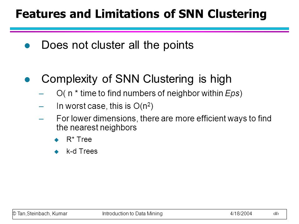 Features and Limitations of SNN Clustering