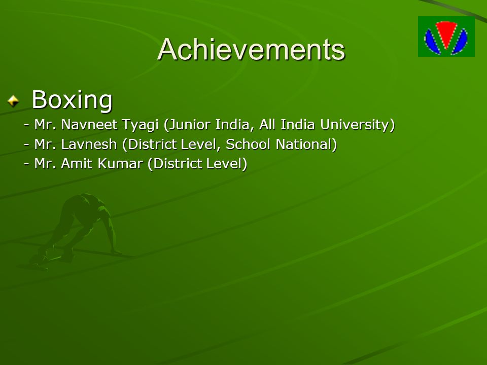 Achievements Boxing. - Mr. Navneet Tyagi (Junior India, All India University) - Mr. Lavnesh (District Level, School National)
