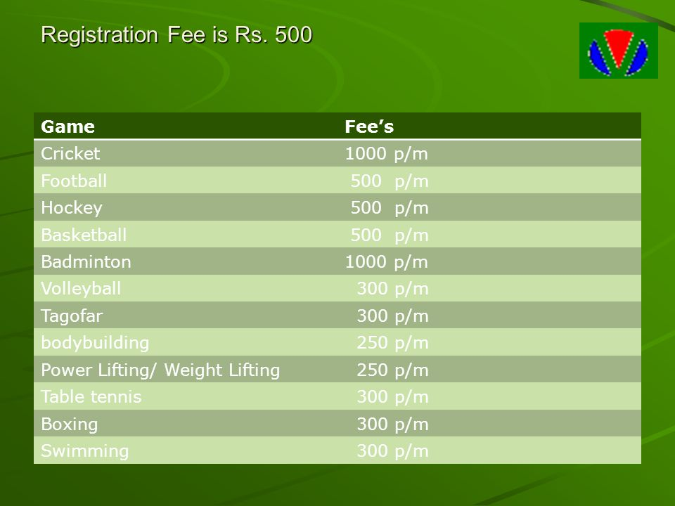 Registration Fee is Rs. 500 Game Fee's Cricket 1000 p/m Football