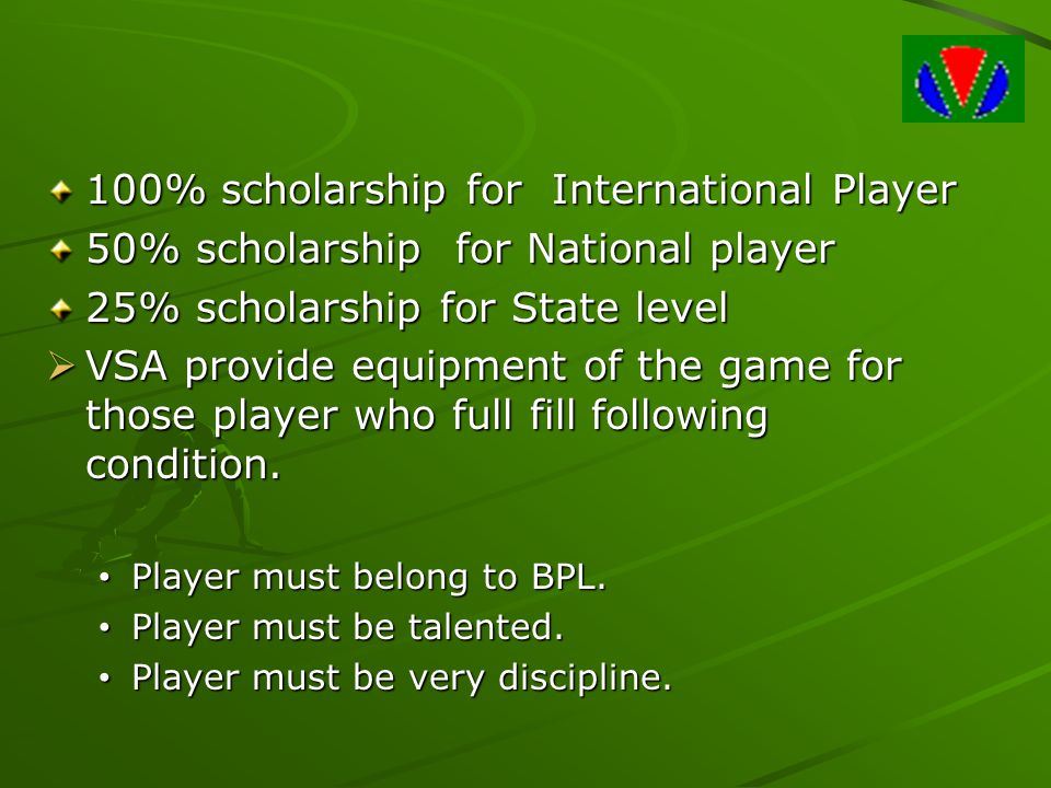100% scholarship for International Player