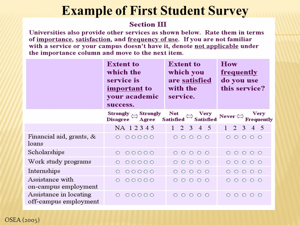 Example of First Student Survey
