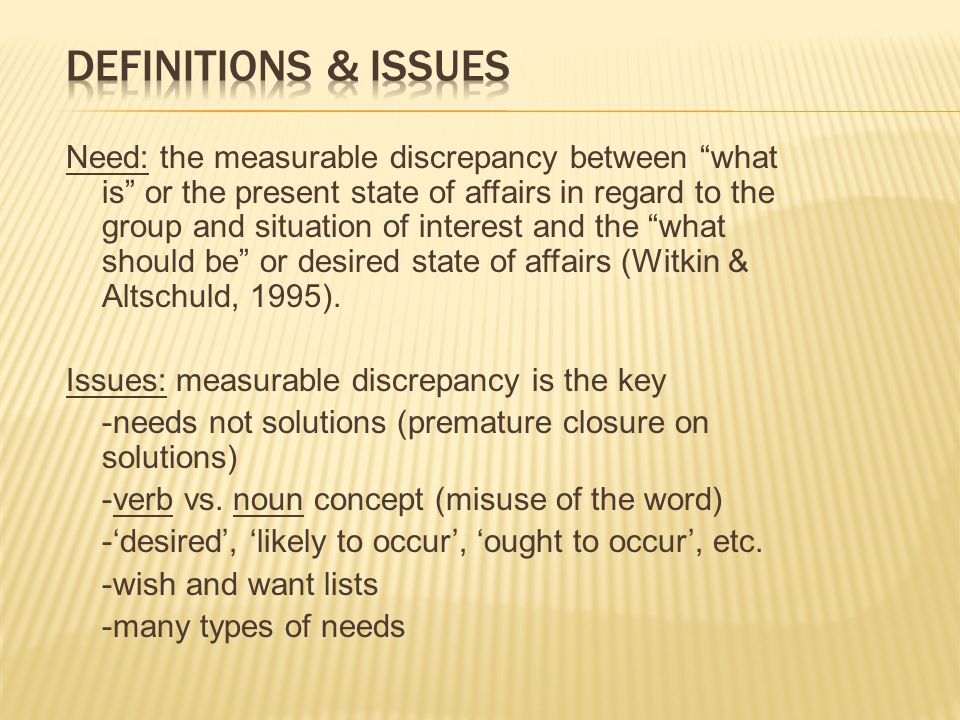 Definitions & Issues