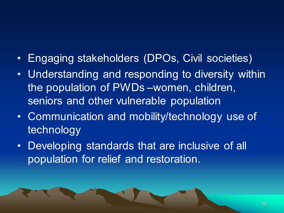 Engaging stakeholders (DPOs, Civil societies)