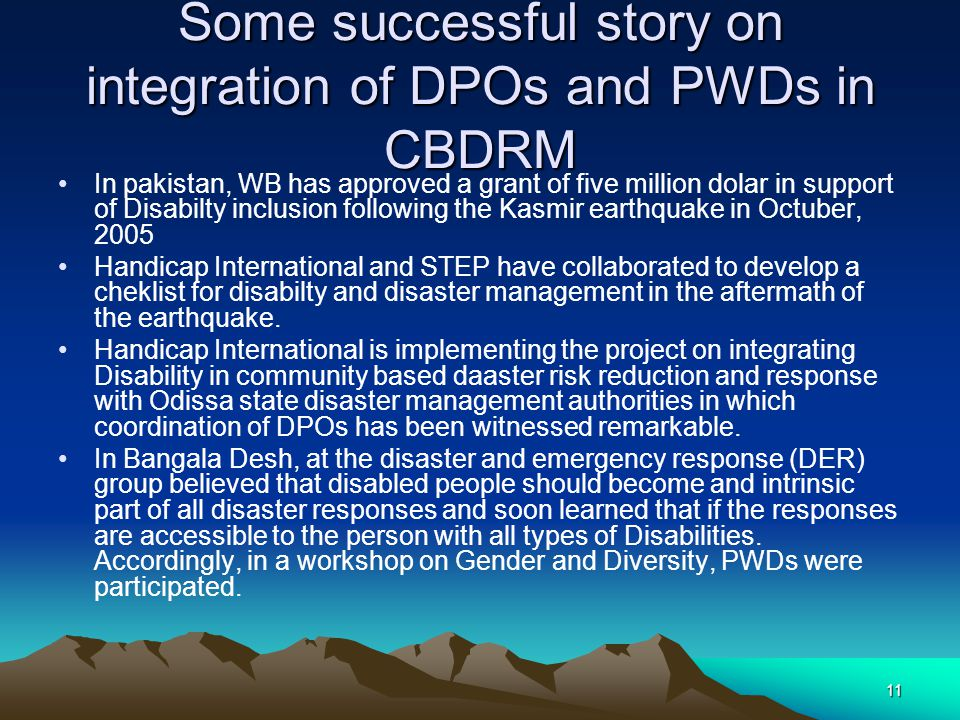 Some successful story on integration of DPOs and PWDs in CBDRM