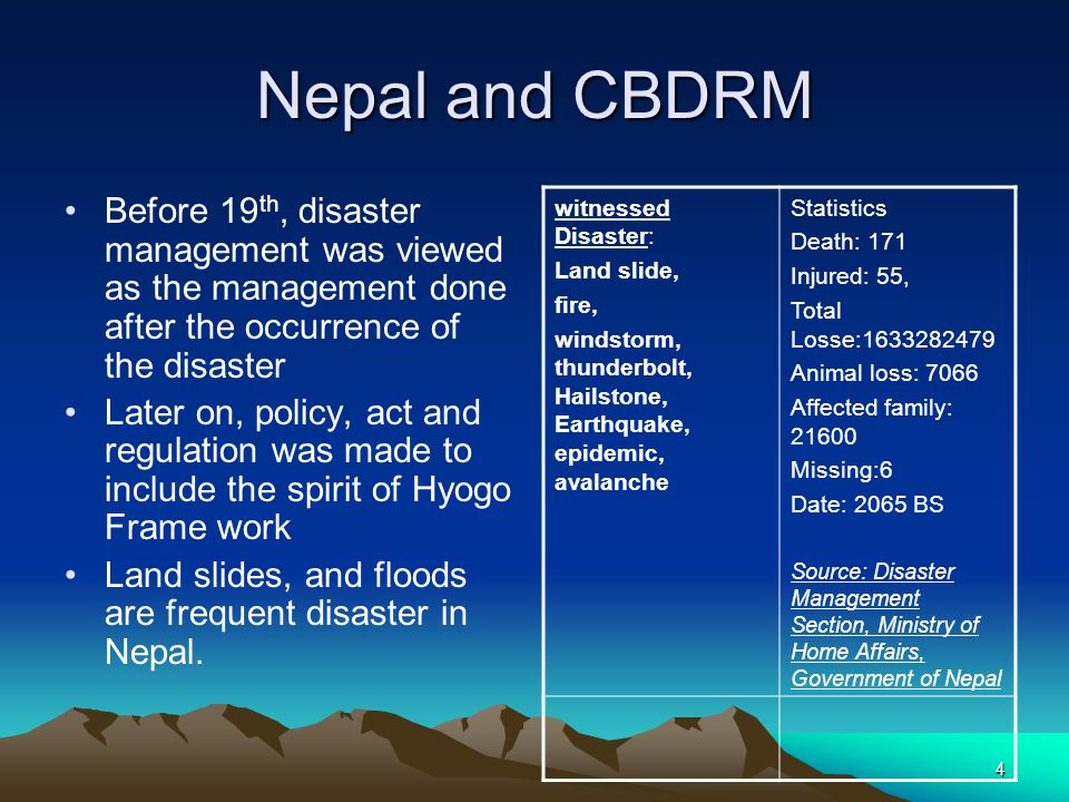 Nepal and CBDRM Before 19th, disaster management was viewed as the management done after the occurrence of the disaster.