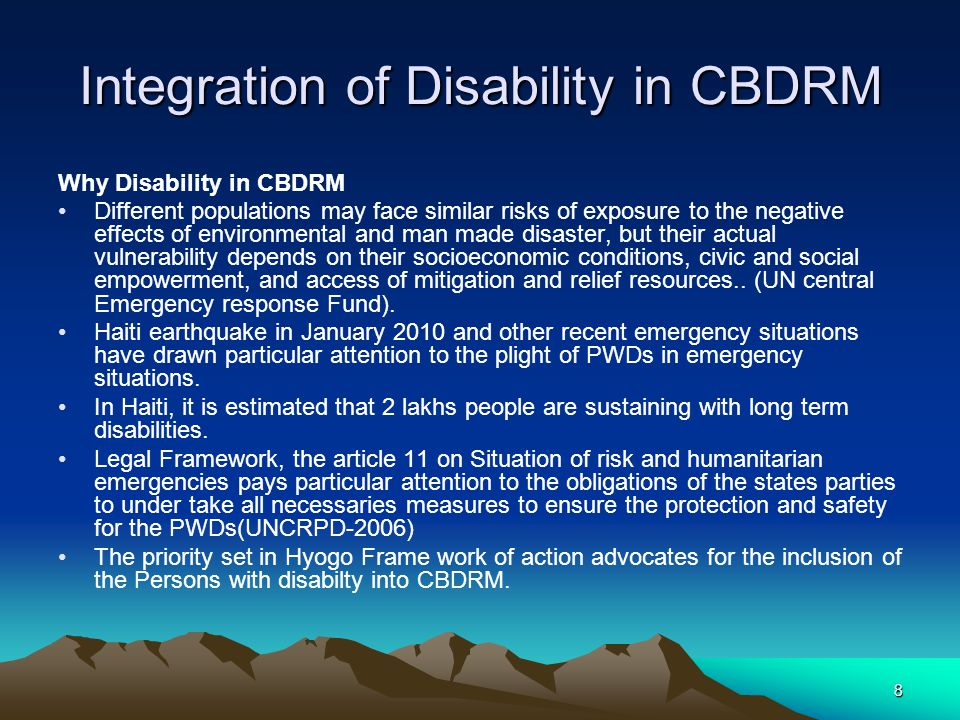 Integration of Disability in CBDRM