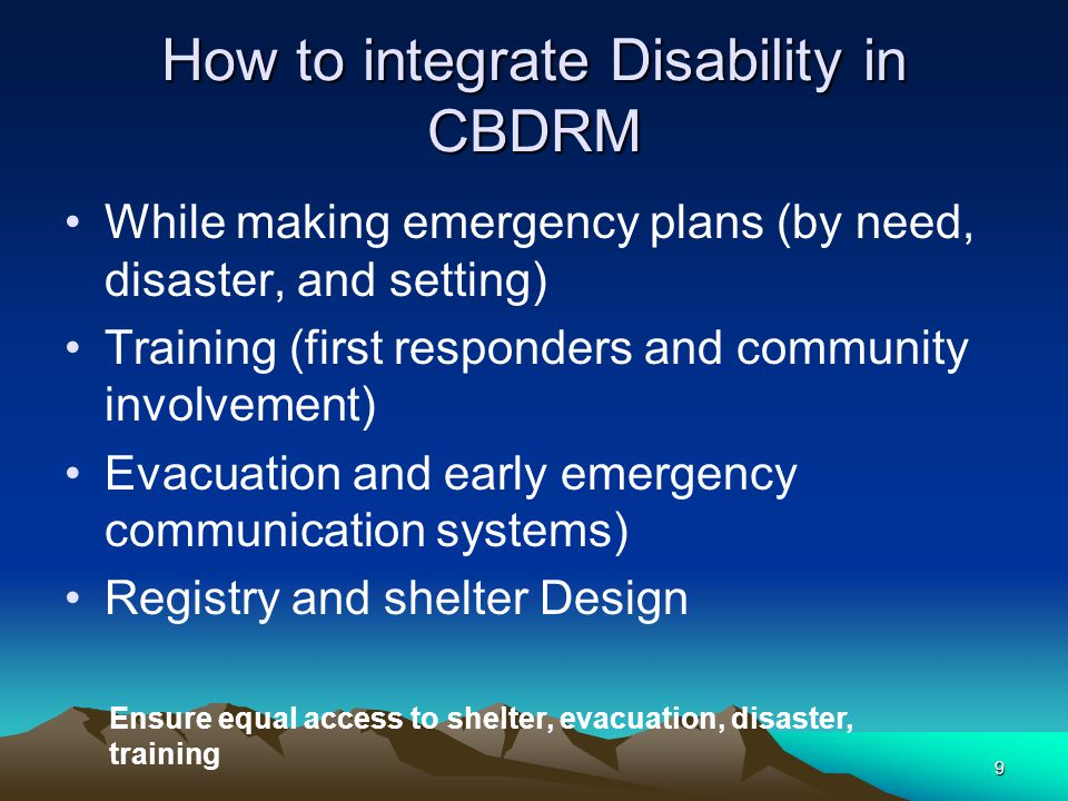 How to integrate Disability in CBDRM