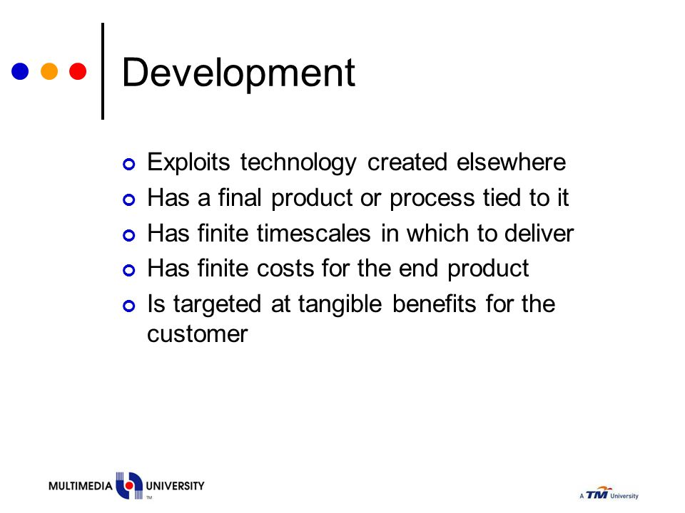 Development Exploits technology created elsewhere